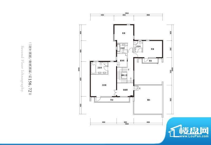 观唐云鼎b2户型二层 3室1厅3卫面积:156.72平米