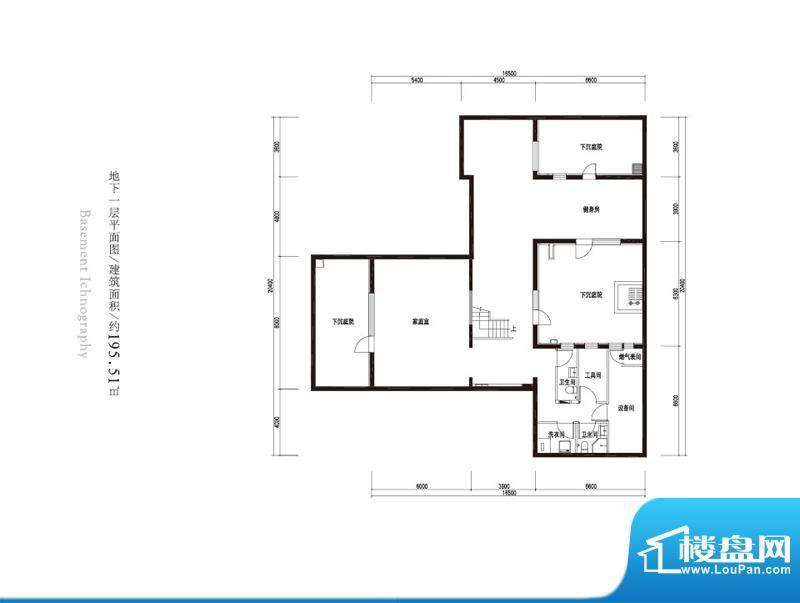 观唐云鼎b2户型地下一层 2室1厅面积:195.51平米