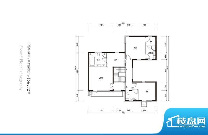 观唐云鼎c1户型二层 3室3卫面积:156.72平米
