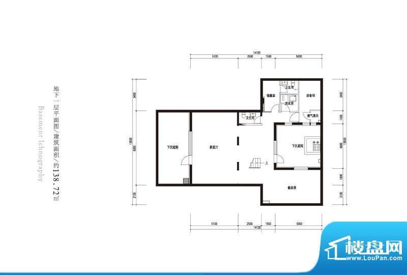 观唐云鼎c1户型地下一层 2室1厅面积:138.72平米