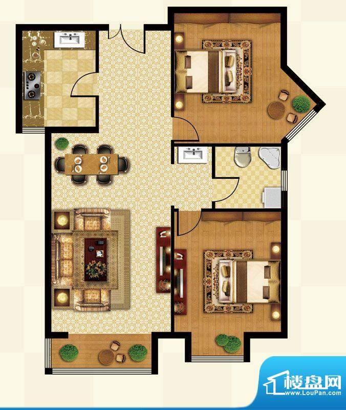 丽都壹号D02反户型 2室1厅1卫1面积:89.45平米