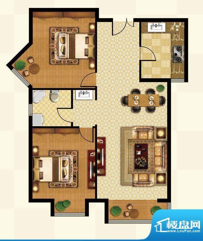 丽都壹号D02户型 2室1厅1卫1厨面积:88.58平米