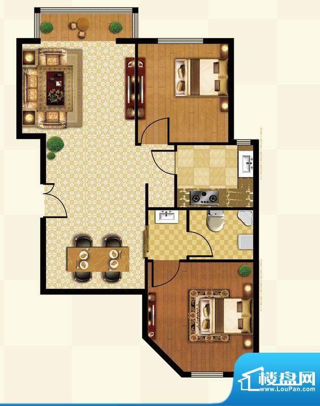 丽都壹号D01反户型 2室2厅1卫1面积:88.53平米