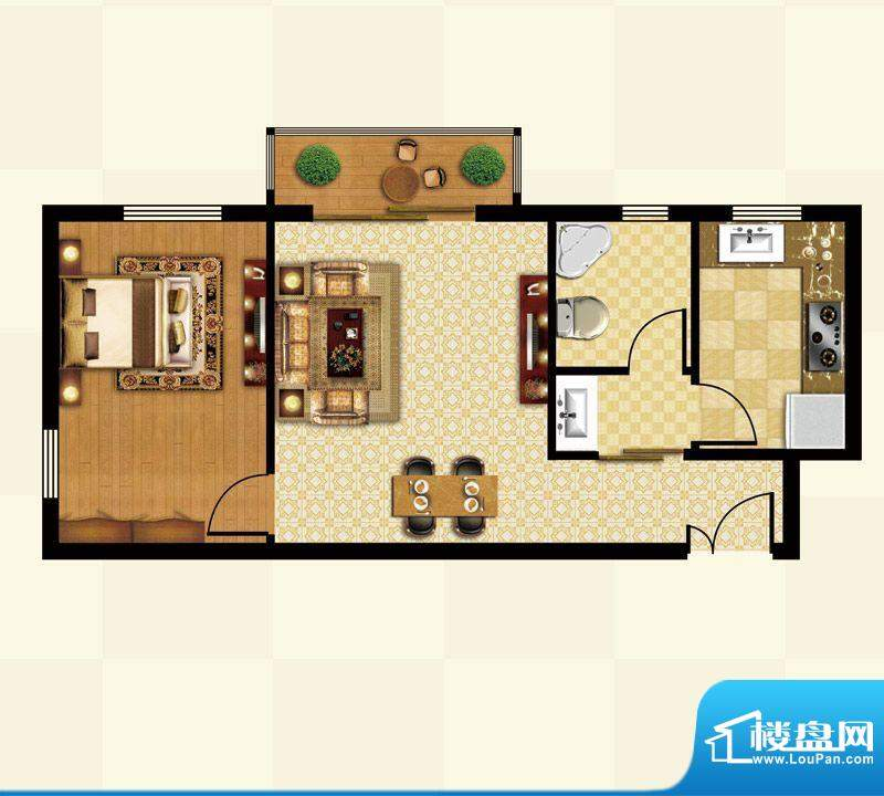 丽都壹号A01反户型 1室1厅1卫1面积:60.69平米