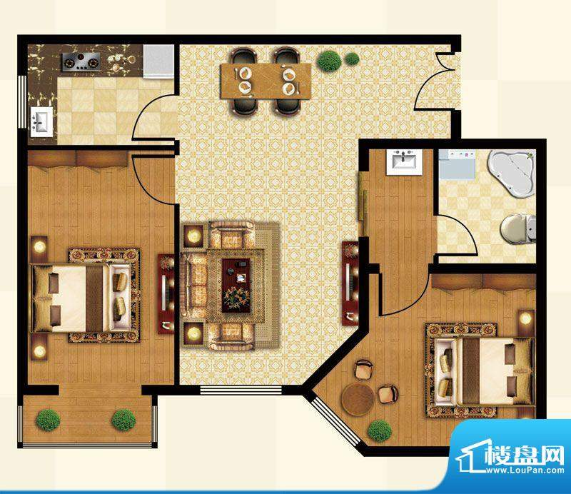 丽都壹号A02反户型 2室1厅1卫1面积:82.85平米