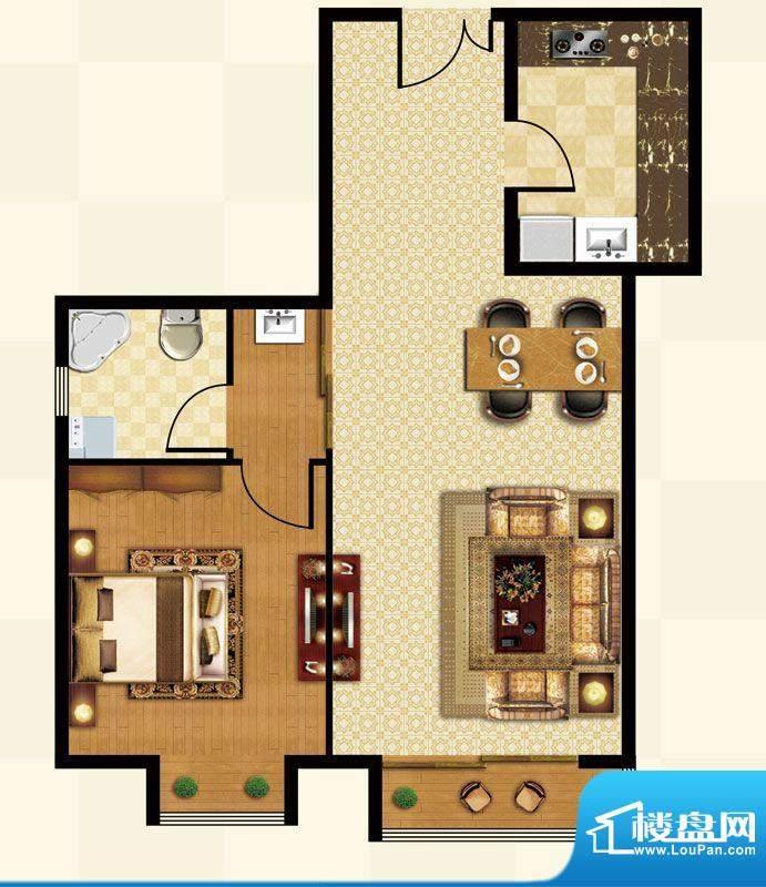 丽都壹号A03反户型 1室2厅1卫1面积:71.86平米