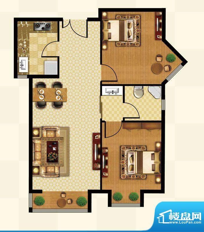 丽都壹号A04反户型 2室1厅1卫1面积:89.01平米