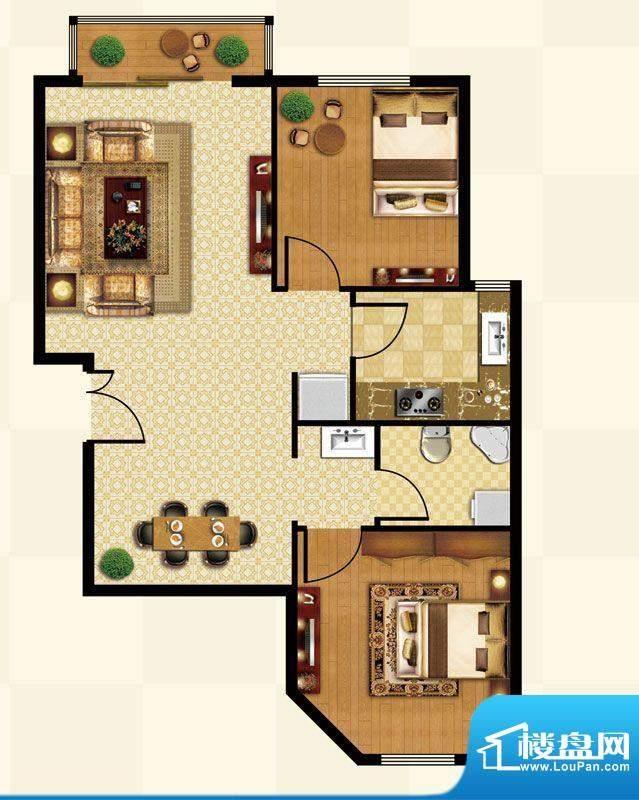 丽都壹号A05反户型 2室2厅1卫1面积:87.81平米