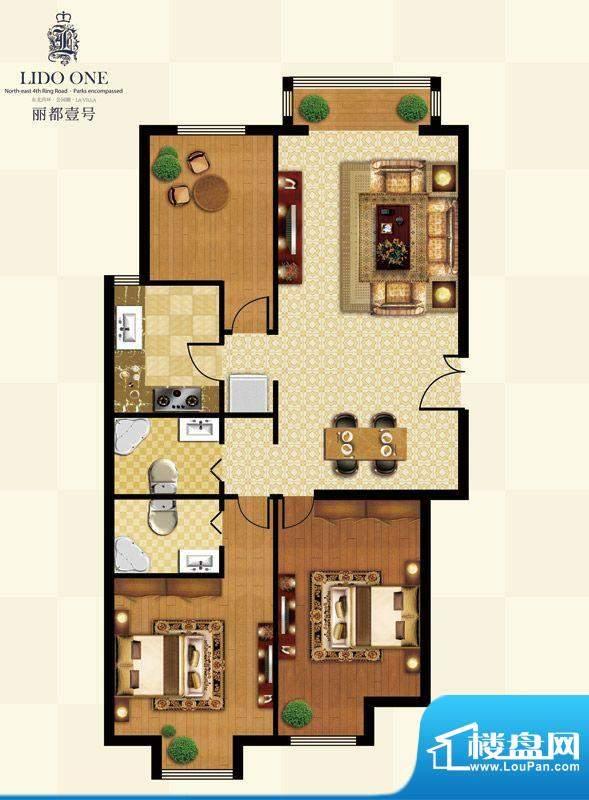 丽都壹号B01户型 3室2厅2卫1厨面积:121.78平米