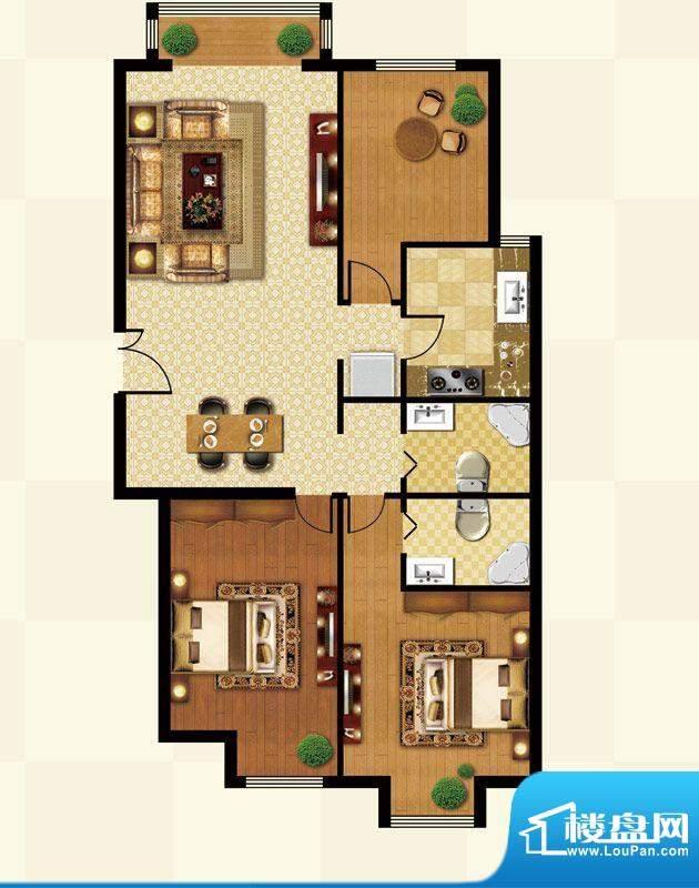 丽都壹号B01反户型 3室2厅2卫1面积:118.19平米