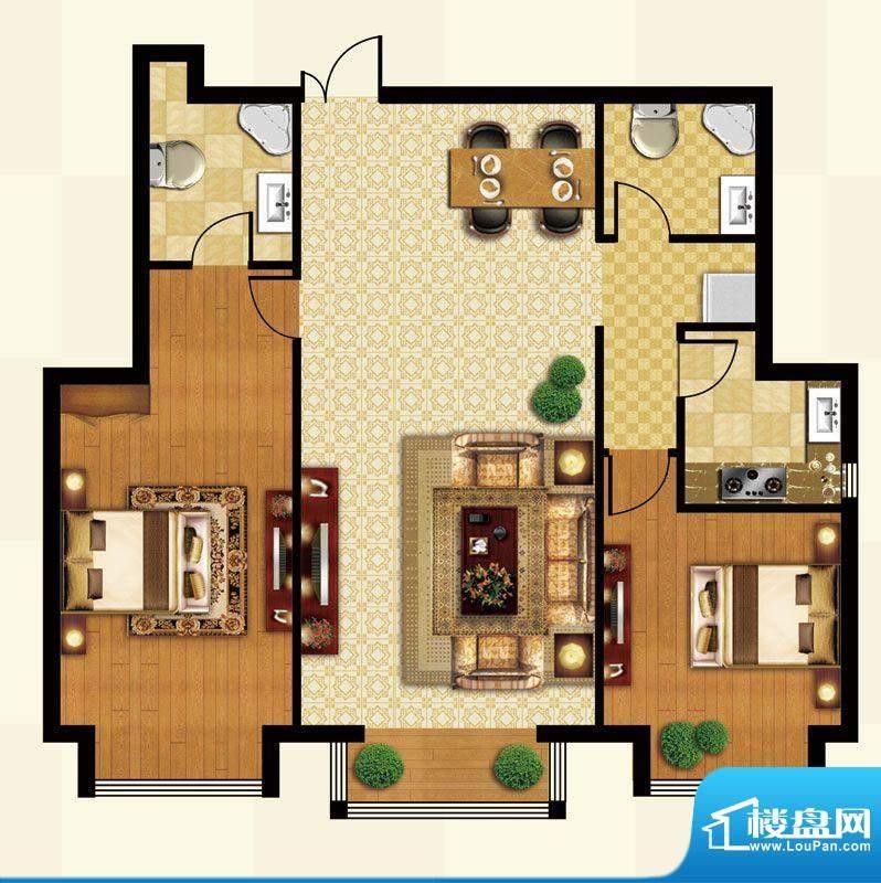 丽都壹号B02户型 2室2厅2卫1厨面积:120.19平米