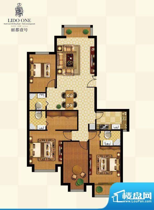 丽都壹号C01户型 4室2厅3卫1厨面积:181.18平米