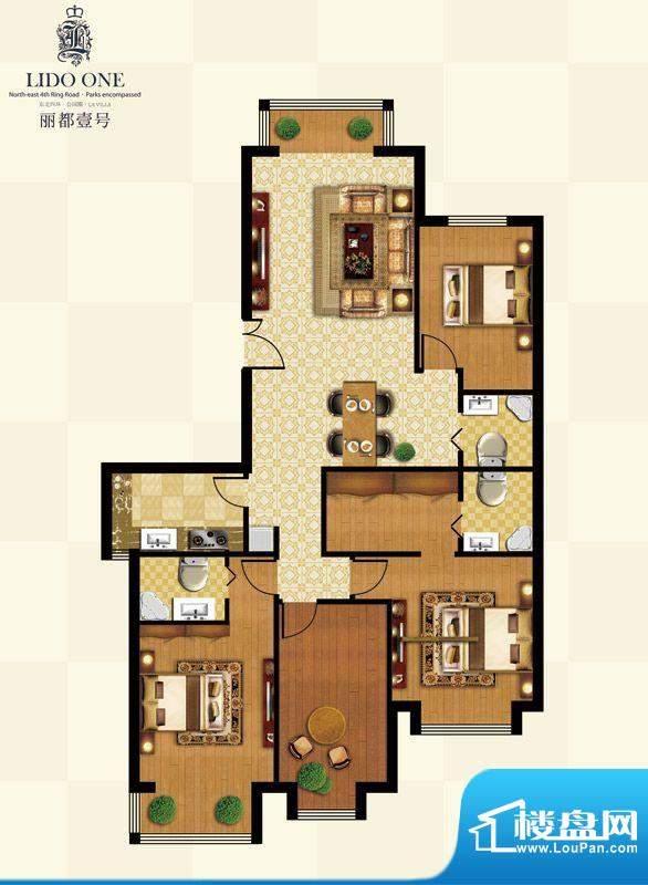 丽都壹号C01反户型 4室2厅3卫1面积:180.63平米