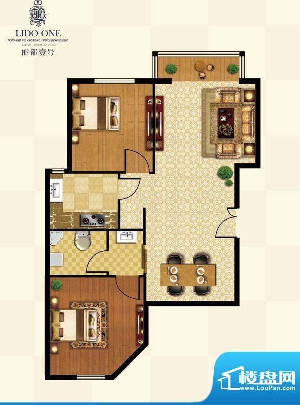 丽都壹号D01户型 2室2厅1卫1厨面积:85.81平米