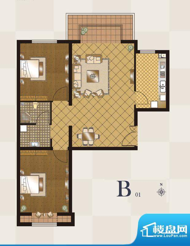 丽都壹号B01户型 2室2厅1卫1厨面积:84.00平米