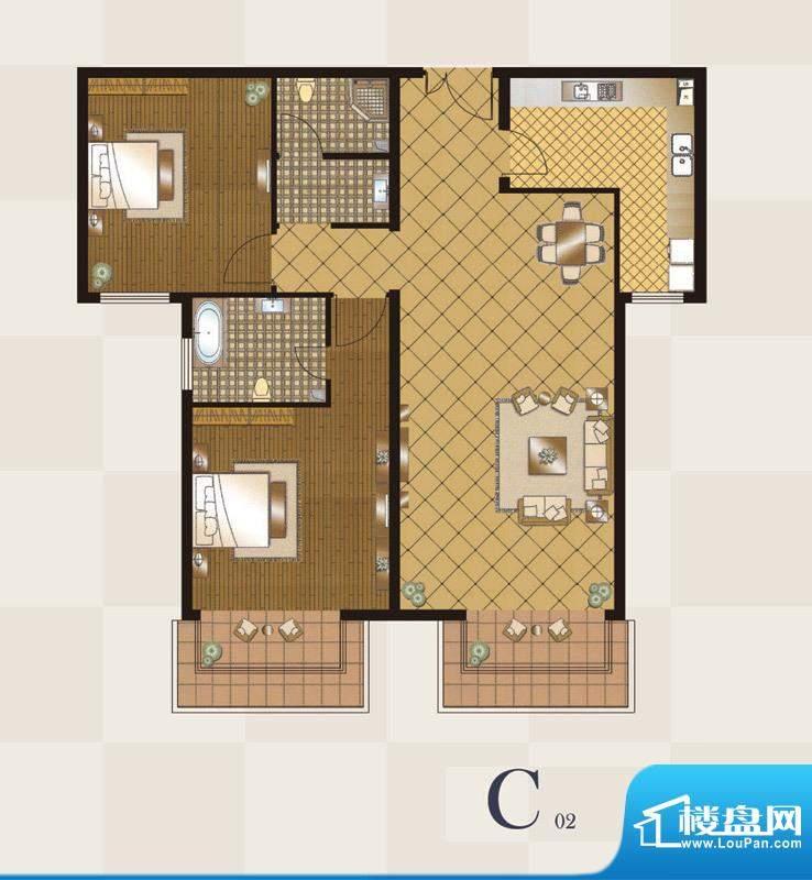 丽都壹号C02户型 2室2厅2卫1厨面积:114.00平米