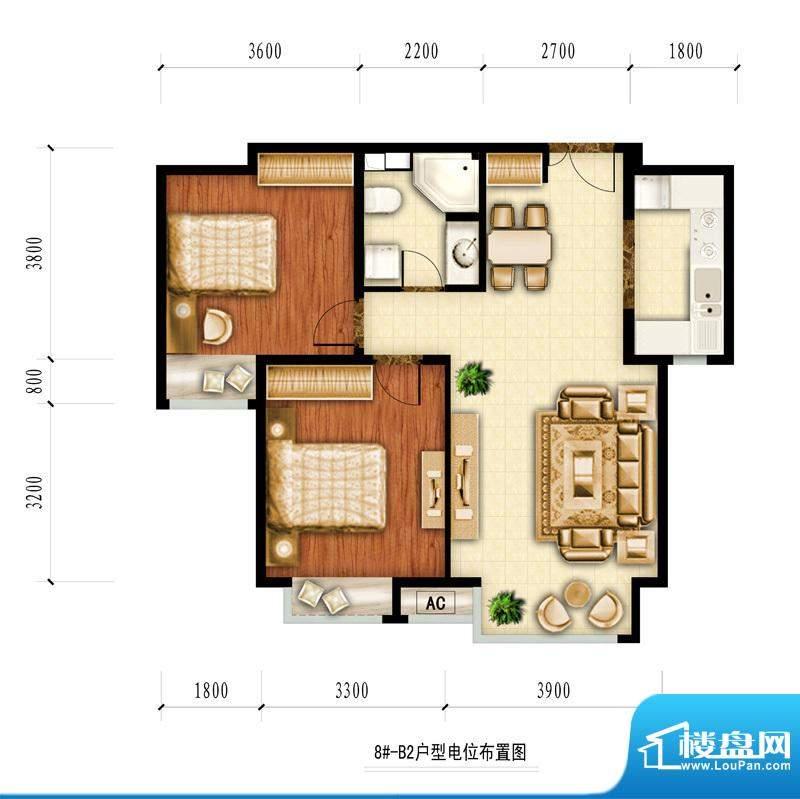 红杉一品和廷8#-B2户型图 2室2面积:87.48平米