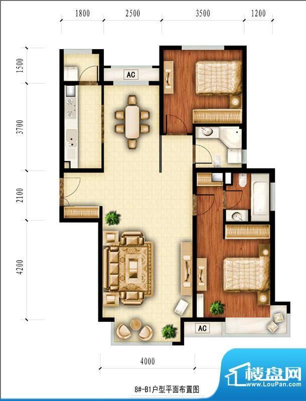 红杉一品和廷8#-B1户型图 2室2面积:112.21平米