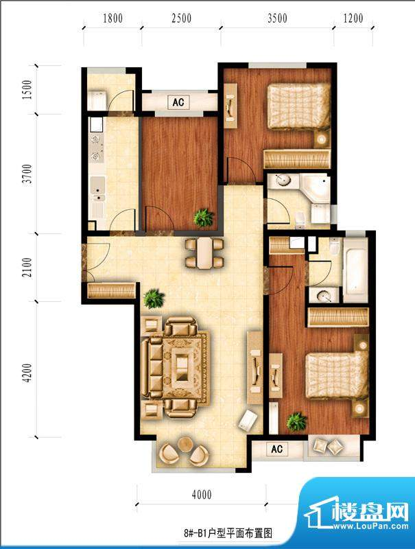 红杉一品和廷8#-B1户型图 3室2面积:111.98平米
