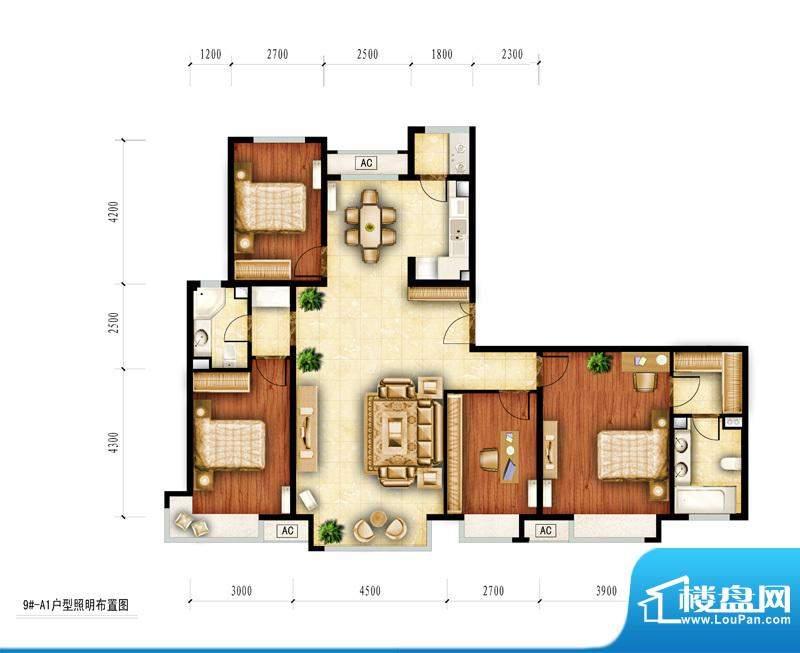 红杉一品和廷9#-A1户型图 4室2面积:163.66平米