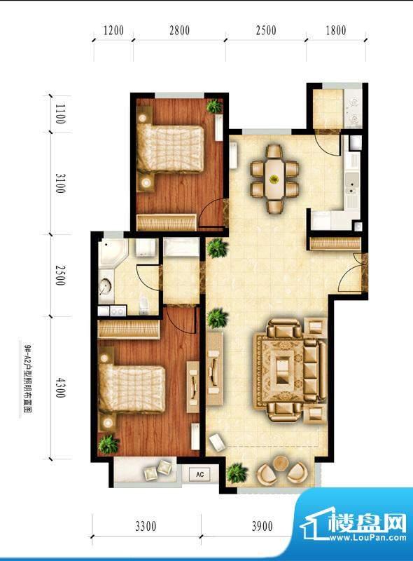 红杉一品和廷9#-A2户型图 2室2面积:105.33平米