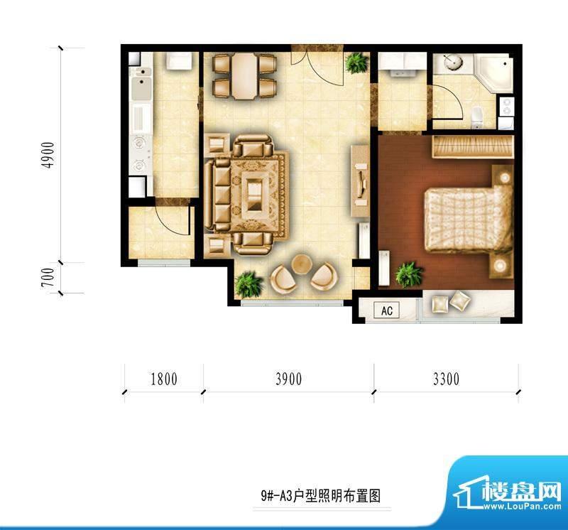 红杉一品和廷9#-A3户型图 1室1面积:63.86平米