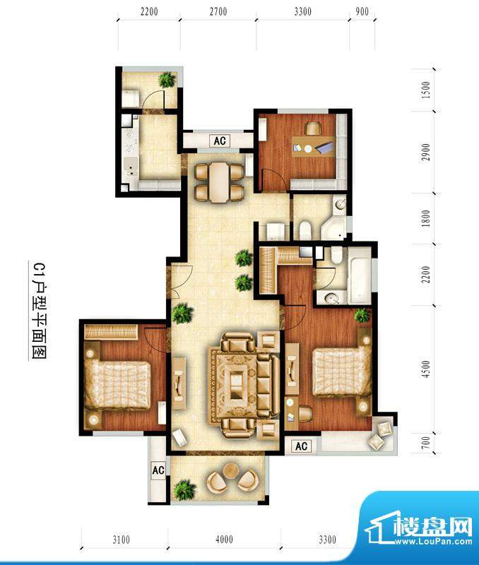 红杉一品和廷10#-C1户型图 3室面积:133.49平米