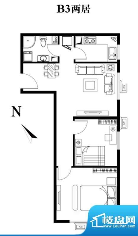 建工双合家园B3两居户型图 2室