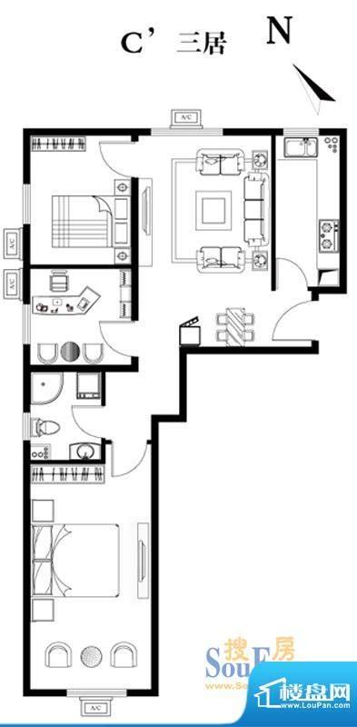 建工双合家园C`三居户型图 3室