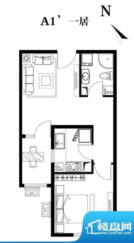 建工双合家园A1户型图 1室2厅1