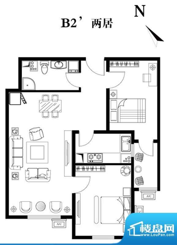 建工双合家园B2`两居户型图 2室