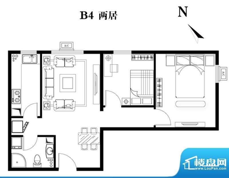 建工双合家园B4两居户型图 2室