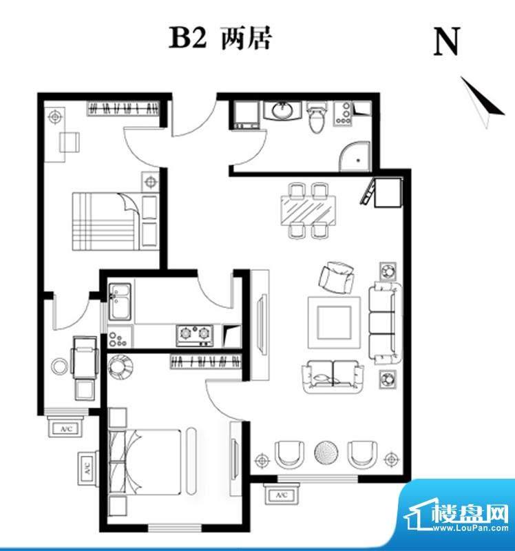 建工双合家园B2两居户型图 2室