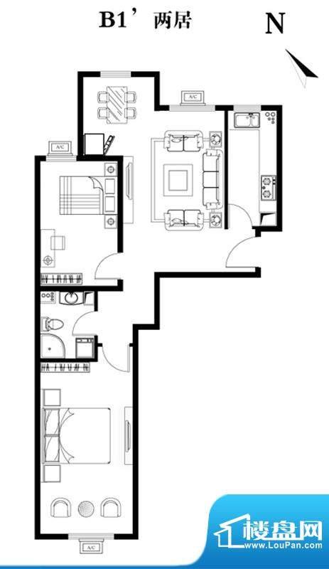 建工双合家园B1`两居户型图 2室