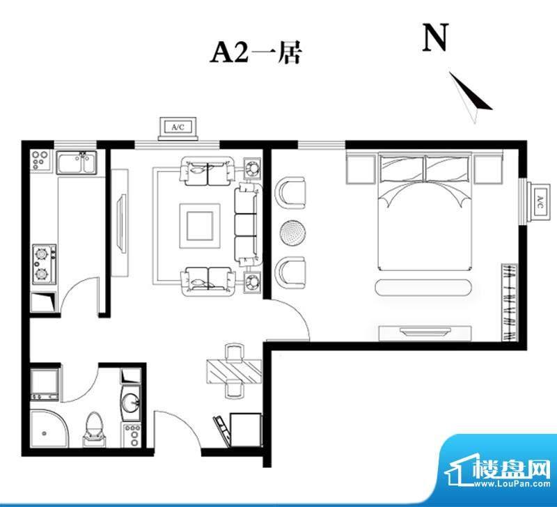 建工双合家园A2一居户型图 1室