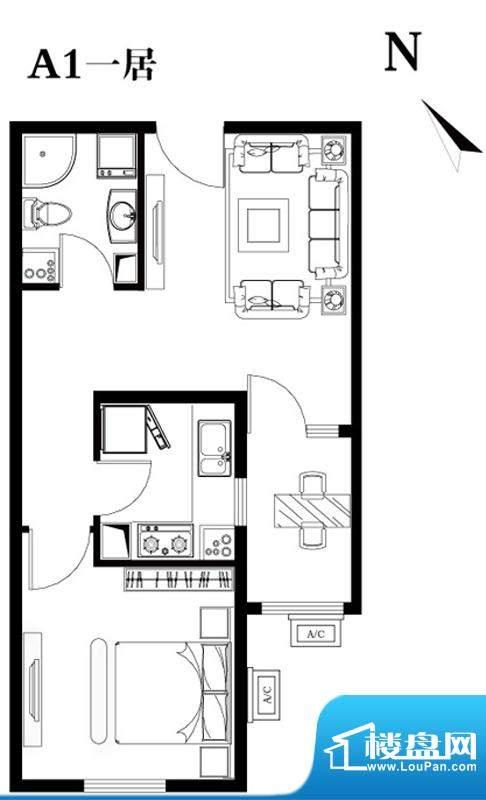建工双合家园A1一居户型图 1室