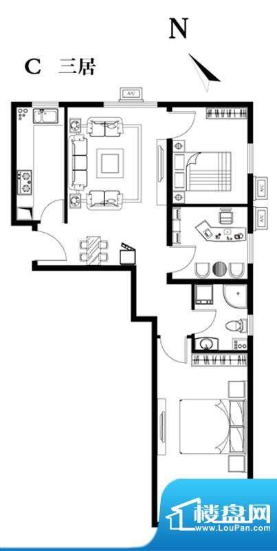 建工双合家园C三居户型图 3室1
