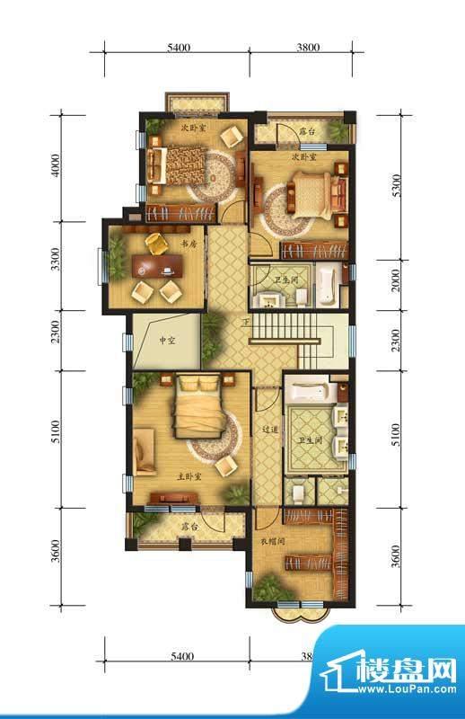 香江别墅II奢华独栋S户型二层 面积:435.00平米