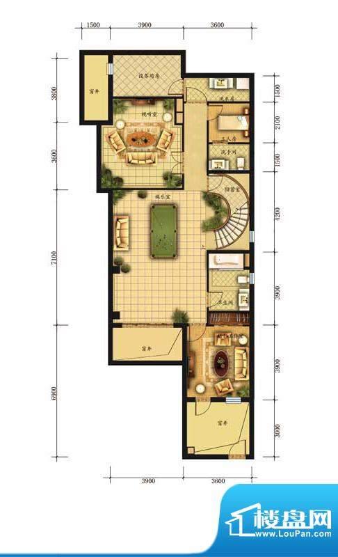 香江别墅II独栋D1户型地下一层面积:380.00平米