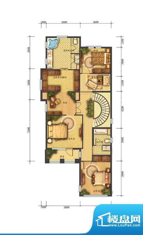 香江别墅II独栋D1户型二层 面积:380.00平米