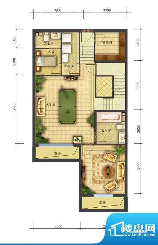 香江别墅II联排L2户型底层 面积:286.00平米