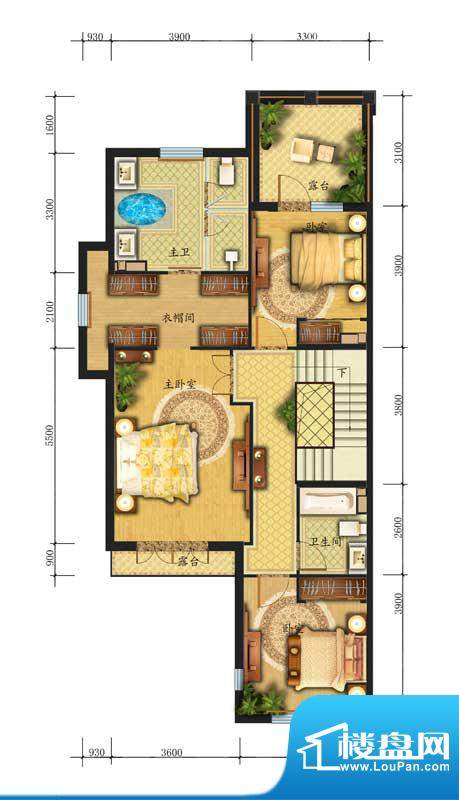 香江别墅II联排L2户型二层 面积:286.00平米