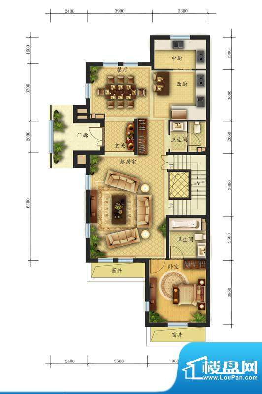 香江别墅II联排L2户型首层 面积:286.00平米