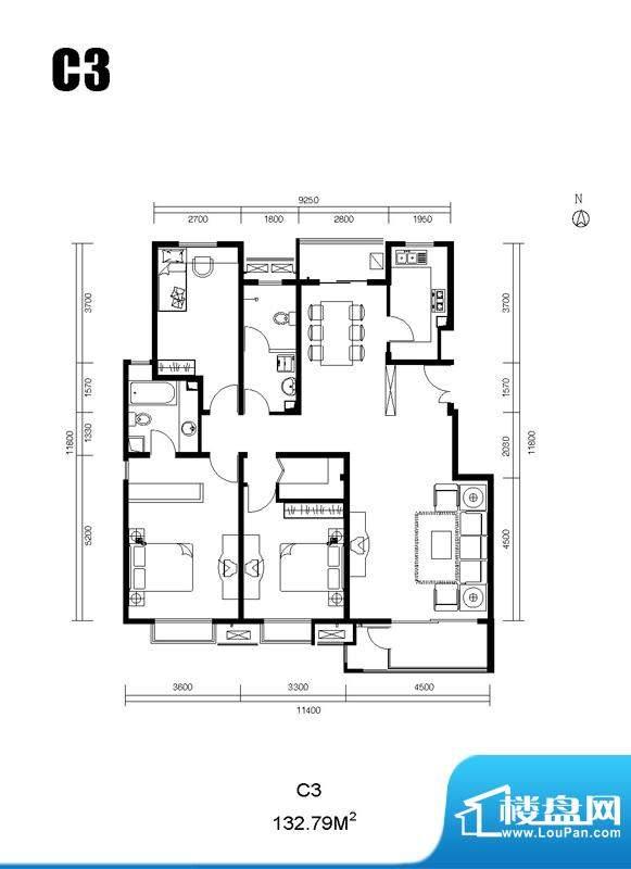 北京水墨林溪2室2厅1卫户型图-北京楼盘网