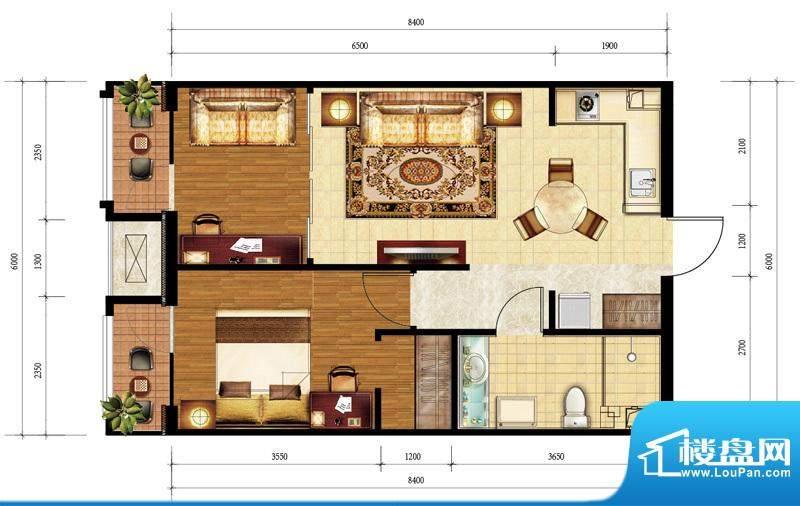 亿城西山公馆C-A户型图 2室1厅面积:69.00平米