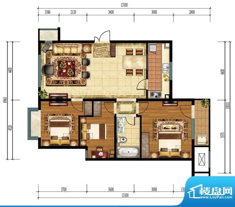 亿城西山公馆新B-B户型图 3室1面积:118.00平米