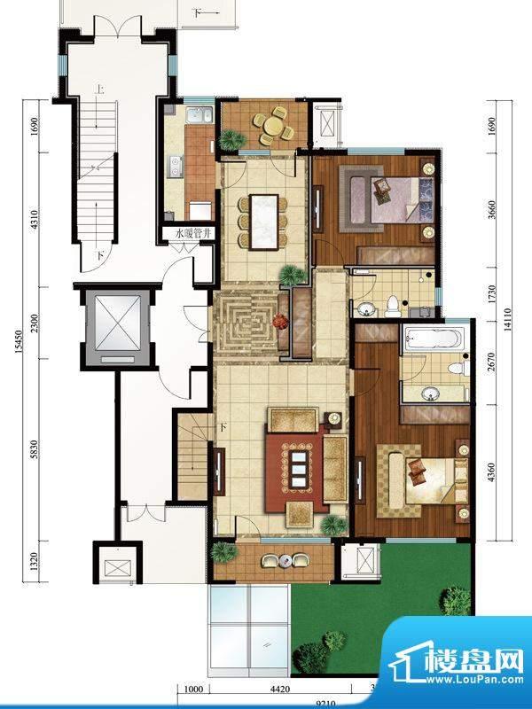 亿城西山公馆新D-C首层户型图 面积:131.00平米