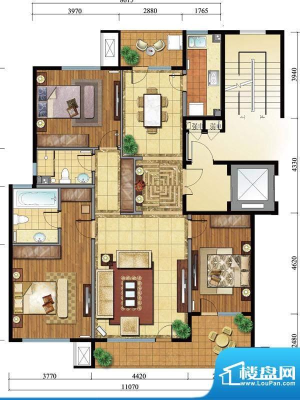 亿城西山公馆新a户型图 3室2厅面积:150.00平米