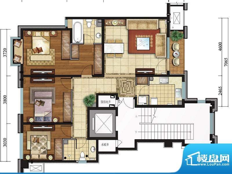 亿城西山公馆新a-b户型图 3室2面积:131.00平米