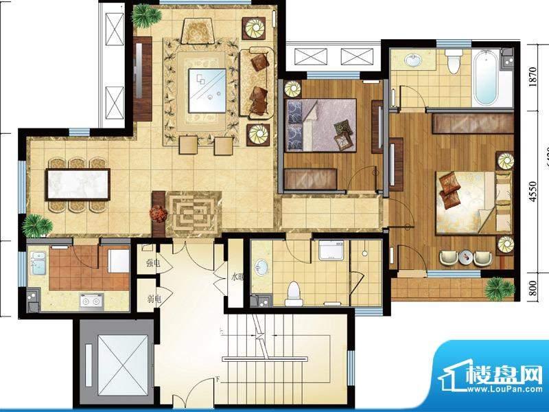 亿城西山公馆新b-a户型图 2室2面积:112.00平米